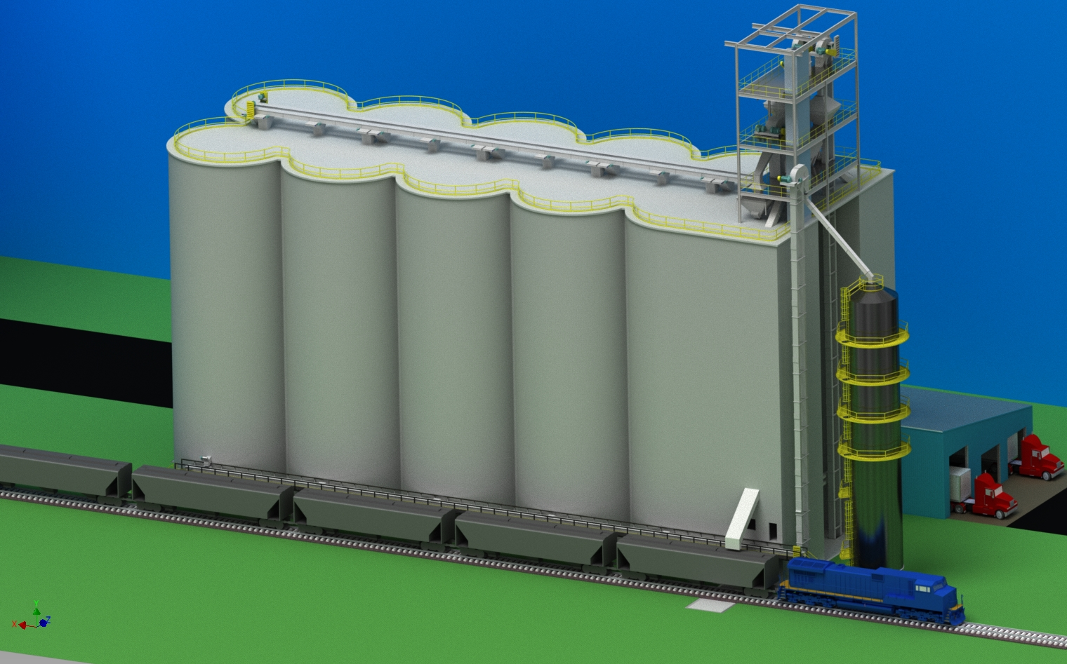 Concrete Slipform Grain Elevator 110 Rail Car Shuttle loading of corn, soybeans, wheat, canola, barley 10,000 BPH Grain Dryer